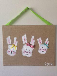 Bunny Family handprints Art  #Handprint #Art #Bunny