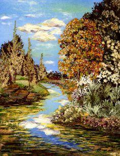 Wonder Lake - Pressed Flower Art - Shelley Xie