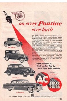 AC SPARK PLUGS with PONTIACS Vintage 1953 Advertisement