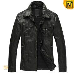 Men's Lambskin Button-up Leather Jacket CW850122 $745.89 - www.cwmalls.com
