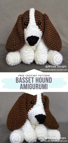 How to Crochet Basset Hound Amigurumi - - Are you a fan of dogs but currently unable to adopt a real one? We have all been there! This selection of Amigurumi Dogs will certainly help ease your. Crochet Sloth, Crochet Penguin, Crochet Animal Amigurumi, Crochet Teddy, Crochet Bear, Cute Crochet, Crochet Dolls, Crochet Animals, Crochet For Dogs