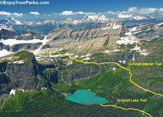 A bird's eye view of Grinnell Lake and the Grinnell Glacier Area from the summit of Allen Mountain.