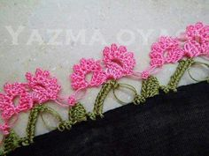 This Pin was discovered by εφη Crochet Flowers, Crochet Lace, Edging Ideas, White Eyeliner, Needle Lace, Tatting, Needlework, Crochet Earrings, Crochet Patterns