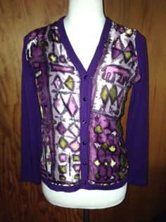 Penelope Tree - Vintage mid century abstract print scarf applied to cardigan.