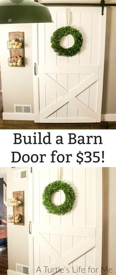 How to Build a DIY barn door for cheap! This is a super easy tutorial that doesn't even include that many cuts and comes together in an afternoon! home diy cheap How to Build an Inexpensive Barn Door Diy Home Decor Rustic, Cheap Home Decor, Farmhouse Decor, Modern Farmhouse, Modern Barn, Country Decor, Contemporary Barn, Farmhouse Remodel, Post Modern