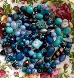 Vintage blue bead mix glass stone acrylic crystals by pinksupply, $4.85