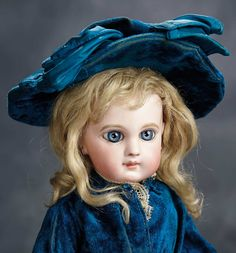 """""""The Voyage Continues"""" - Saturday, January 7, 2017: 175 French Bisque Bebe E.J. by Jumeau with Splendid Blue Eyes and Blue Velvet Costume"""