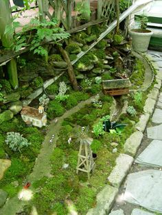 The variety of miniature plants in this miniature garden is really elaborate. An overgrown cemetery with wonderful bonsai trees. Beautiful miniature garden in a tree stump for a pod. Large Fairy Garden, Fairy Garden Houses, Gnome Garden, Garden Art, Fairy Gardening, Organic Gardening, Fairies Garden, Gardening Quotes, Succulent Planters
