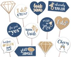 Bridal Shower Printable Photo Booth Props - Rose Gold Navy and White - 12 Hand Painted Signs - Bachelorette Hen Party by brighterprints on Etsy Bachelorette Photo Booth, Wedding Photo Booth Props, Nautical Bachelorette, Bachelorette Weekend, Photo Props, Bridal Shower Photos, Gold Bridal Showers, Painted Letters, Hand Painted Signs