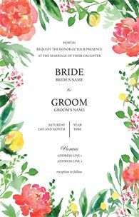 Design wedding invitations with Vistaprint! With hundreds of wedding invitation templates to choose from, there's something to suit all wedding themes and styles. Design your wedding invites now! Floral Wedding Invitations, Wedding Invitation Templates, Business Card Holders, Wedding Themes, Wedding Ideas, Bride Groom, Marie, Stationery, Inspiration