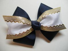 Items similar to Uniform 4 inch bow You Pick color White and Gold with Navy Black Maroon Khaki Red Light Blue on Etsy Navy Blue Hair, Blue Hair Bows, Ribbon Hair Bows, Girl Hair Bows, Girls Bows, Cheer Spirit, Spirit Wear, Types Of Bows, Short Dark Hair