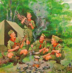"Campfire Sing-along - ""Healthy Christian moral values make for happier kids & and a greater nation. Vintage Boys, Vintage Children, Cub Scouts, Girl Scouts, Story Drawing, Scout Camping, Eagle Scout, Boy Art, Happy Campers"