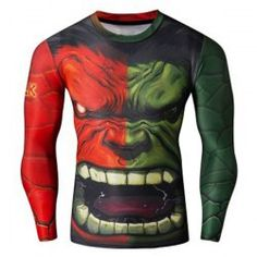 Cool 3D The Hulk Print Ombre Close-Fitting Quick-Dry Round Neck Long Sleeves Men's Superhero T-Shirt