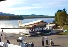 A Douglas DC-3 on floats powers up the ramp.
