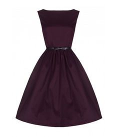 Lindy Bop Audrey Swing Dress in Deep Damson