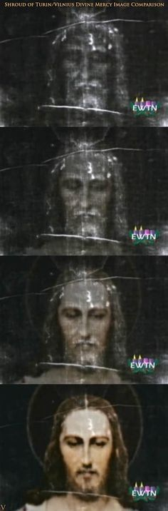 The Shroud of Tourin superimposed on the Vilnius Divine Mercy image www.divine-mercy.ca
