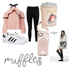 """""""Ruffle my tuffle"""" by luka-the-yandere ❤ liked on Polyvore featuring Alexis, Boohoo, adidas, Betsey Johnson, Rebecca Minkoff and Paul's Boutique"""