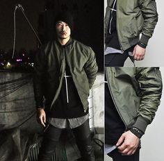 attention:  green military-inspired bomber ...  (image from lookbook.nu)