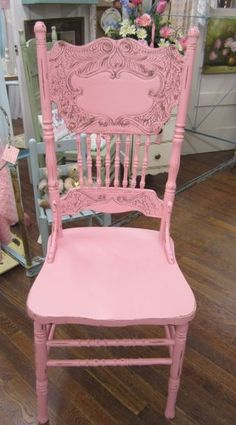 Shabby Pink Vintage Chair Pressed Back Spindles Prairie Chic FREE Shipping by rosesnmygarden on Etsy