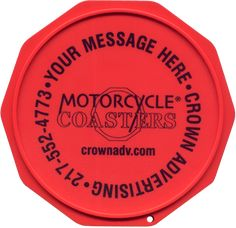 The Original Custom Imprinted Motorcycle Coaster® Red Motorcycle, Coasters, Messages, Plates, Ink, Printed, Check, Graphics, Color