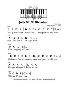 jolly old st nicholas pre staff with letters a great christmas carol for those who cannot read notes on the staff