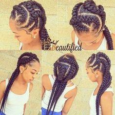 35 Must Try Cornrow Hairstyles - Part 2 Quick Braids, Big Braids, Braids With Curls, Braids With Weave, Braids For Black Hair, Fishtail Braids, Short Braids, Big Cornrows, Braided Hairstyles Updo