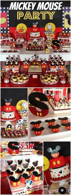 So many great details at this classic Mickey party! See more party ideas at CatchMyParty.com!