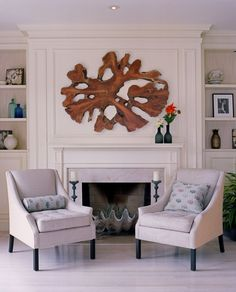 Love the shell in the fireplace AND the teak above the fireplace!