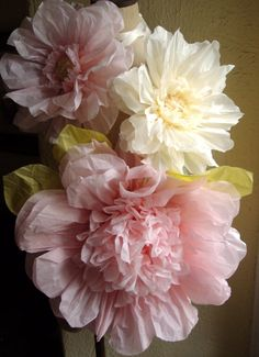 Set of 3 Giant Paper Flowers (L Pink / Vanilla)- Perfect Decorations for Wedding,Birthday Party&Baby Shower