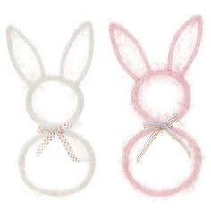 """RAZ Bunny Wreath  White, Pink Priced individually, choose color 16"""" Made of Plastic  Arriving soon!"""