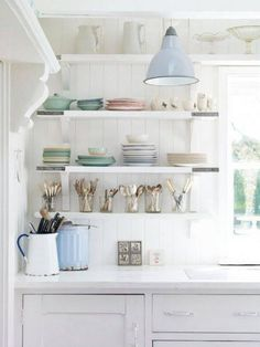 The open shelving in this shabby chic kitchen plays well with the style of the shaker cabinetry. Be sure to visit our board Shabby Chic Home for more of the same! Interior, Beach Cottage Kitchens, Summer House Inspiration, Cottage Decor, House Styles, House Inspiration, Cottage Kitchen, Home Kitchens, Cottage Kitchens
