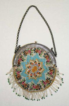 Bag Date: 19th century Culture: French Medium: beads, metal, silk