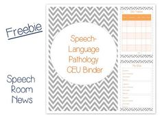 Speech Room News: CEU Binder {Freebie} Pinned by SOS Inc. Resources. Follow all our boards at pinterest.com/sostherapy for therapy resources.