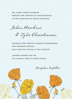 In this invitation, classic poppies get a fresh twist with a dotted pattern overlay for a look that is a sweet mix of old and new. Shown in orange.