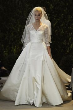 Carolina Herrera - Traditional three quarter sleeve bodice Wedding Dress with Silk Taffeta full skirt | Grace Kelly inspiration