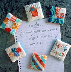 sampler quilt block magnets - now those are MINI quilts! The blocks are 1 inches. Quilting Tips, Quilting Tutorials, Quilting Projects, Sewing Projects, Small Quilt Projects, Quilting Fabric, Machine Quilting, Small Quilts, Mini Quilts