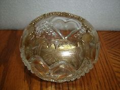 EAPG Hearts Pattern Glass fluted bowl vase with gold overlay
