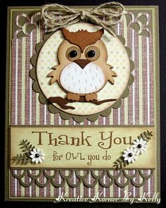 "ADORABLE owl card. made from the Go Kreate die - 4""x4"" - Owl #1"