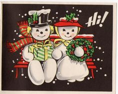 Snowman Snowmen Lady Girl Husband Wife Bench Couple VTG Christmas Greeting Card