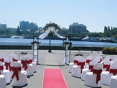 Wedding ceremony set up on our beautiful Harbour Patio. Wedding Vendors, Wedding Ceremony, Victoria Wedding, Island Weddings, Vancouver Island, Great Places, Patio, Bridal, Beautiful
