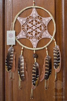 This cream doily dream catcher will make a great decorative touch to any space. The same time it can be an ideal gift for a birthday or in any other occasion.  •  Diameter: 8 1/2 (22cm)  |  Length: 18 (46cm) not including hanging ribbon. •  The doily lace is individually knitted from cotton thread •  The hoop is hand made from bamboo rods •  I use natural pheasant feathers and wooden beads for decoration  --≫ The dreamcatcher pictured is one of a kind and the exact one you will receive -...