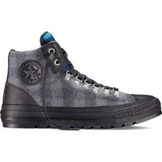 Converse Chuck Taylor All Star Woolrich Street Hiker – grey Sneakers (1,655 MXN) ❤ liked on Polyvore featuring shoes, sneakers, grey, converse footwear, star sneakers, converse shoes, converse sneakers and print shoes