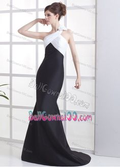 Flower One Shoulder White and Black Gowns for Military Ball
