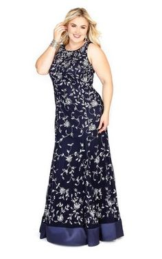 f26883979b4e Kurves By Kimi Navy Embroidered Plus Size Long Dress with Trim 71153L Front  View  1