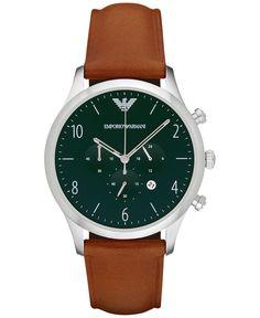 Emporio Armani Men's Chronograph Beta Light Brown Leather Strap Watch 43mm AR1941