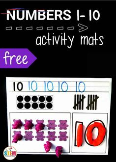 Numbers Activity Mats - The Stem Laboratory Free number activity mats! Such a fun way to practice counting, tallying, number formation, ten frames. Teaching Numbers, Numbers Kindergarten, Numbers Preschool, Math Classroom, Kindergarten Activities, Preschool Learning, Teaching Math, Classroom Ideas, Teaching Ideas