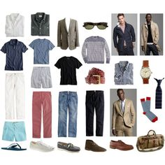 Men's Spring / Summer Wardrobe, created by sophiart on Polyvore. It's what I would wear if I were a guy!