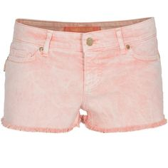 ZADIG&VOLTAIRE Summer Breeze Orange Washed out denim shorts (5,820 INR) ❤ liked on Polyvore featuring shorts, pants, bottoms, short, jean shorts, embroidered shorts, denim shorts, embroidered denim shorts and embellished shorts