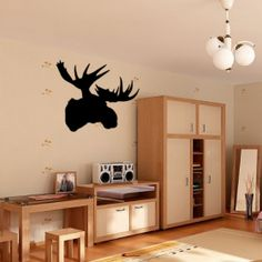 This removable wall decal is of a silhouetted Moose head,  this wall sticker is part of our taxidermy self adhesive decals collection, as with many of our designs its available in three sizes. http://wowwalldecals.com.au/  #Wall Tattoos #Life quote wall stickers #Removable wall sticker quotes