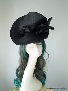 Black Straw Hatinator Disk Headband Hat Fascinator Wedding Guest Racing Carnival Derby Day Melbourne Cup Kentucky Derby Millinery Tea Party Time In Australia, Metal Comb, Melbourne Cup, Metal Headbands, Derby Day, Kentucky Derby, Black Fabric, Fascinator, Tea Party